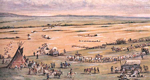 """Crossing the Platte,"" a drawing by William. H. Jackson in the 1800s."