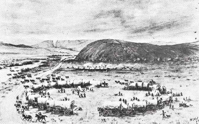 W.H. Jackson's 1800s drawing of Independence Rock on the Oregon Trail west of Casper with Devil's Gate in the background.