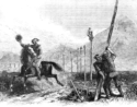 An 1800s drawing by George Ottinger of a Pony Express rider and the telegraph line that replaced him.